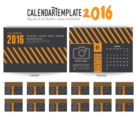 desk calendar: Desk Calendar 2016 Vector Design Template. Big set of 12 Months. Week Starts Sunday