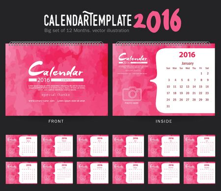 february: Desk Calendar 2016 Vector Design Template. Big set of 12 Months. Week Starts Sunday