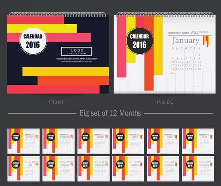 january calendar: Desk Calendar 2016 Vector Design Template. Big set of 12 Months. Week Starts Sunday