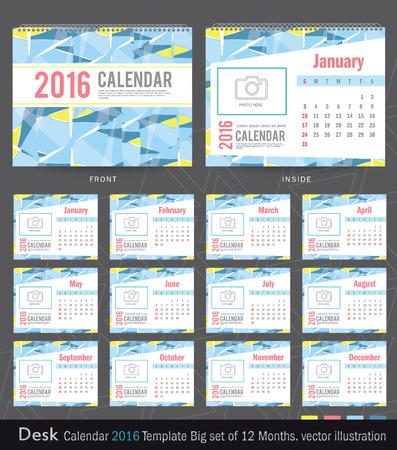 october calendar: Desk Calendar 2016 Vector Design Template. Big set of 12 Months. Week Starts Sunday