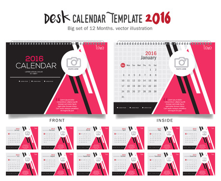 events: Desk Calendar 2016 Vector Design Template. Big set of 12 Months. Week Starts Sunday