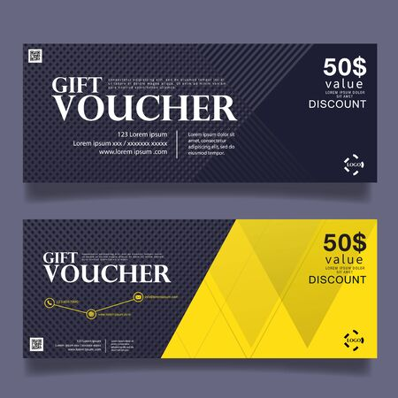 Cadeau modèle de bon de réduction, chèque cadeau certificat coupon modèle de conception, illustration vectorielle