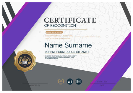 Certificate OF RECOGNITION frame design template layout template in A4 size 向量圖像