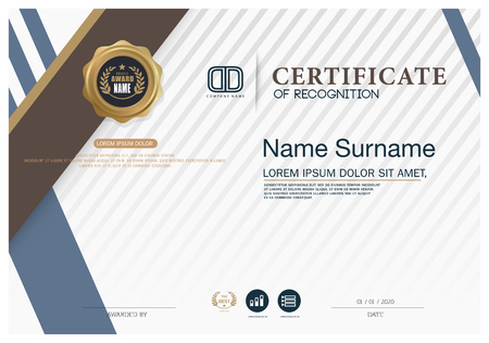 business education: Certificate of achievement frame design template Illustration