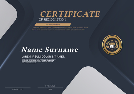 Certificate OF RECOGNITION frame design template layout template in A4 size Ilustrace