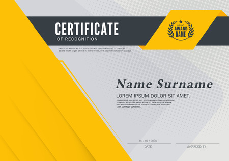 Certificate OF RECOGNITION frame design template layout template in A4 size Imagens - 58418673