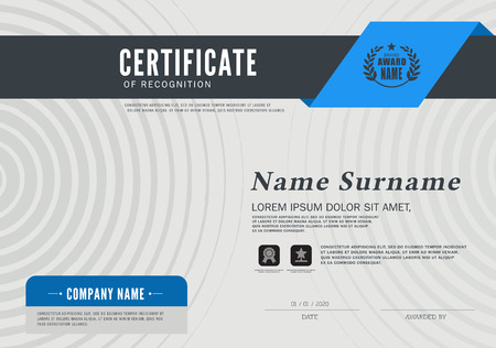 Certificate OF RECOGNITION frame design template layout template in A4 size Reklamní fotografie - 58418598