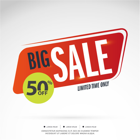 limited time: Big Sale Limited Time offer. 50% off. Vector illustration.Theme color.