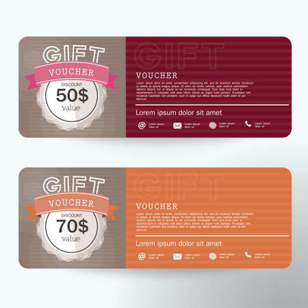 blue card: Voucher, Gift certificate, Coupon template Illustration