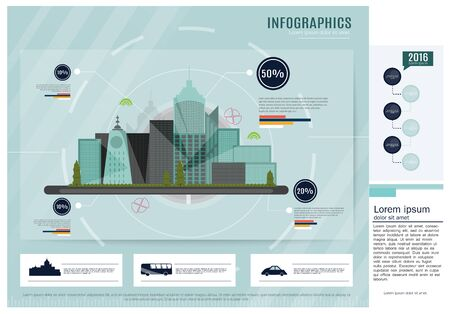 clouds scape: City Green background with info graphic elements Illustration