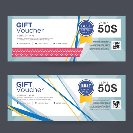 Gift Voucher Template Design concept for gift coupon Ilustração