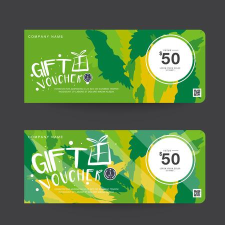 Gift Voucher Green Template Design concept for gift coupon Ilustração