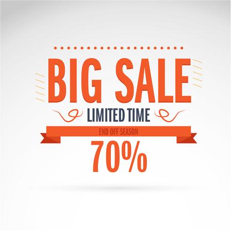 Big Sale banner. Vector illustration. special offer. 70% off. Vector illustration.Theme color.