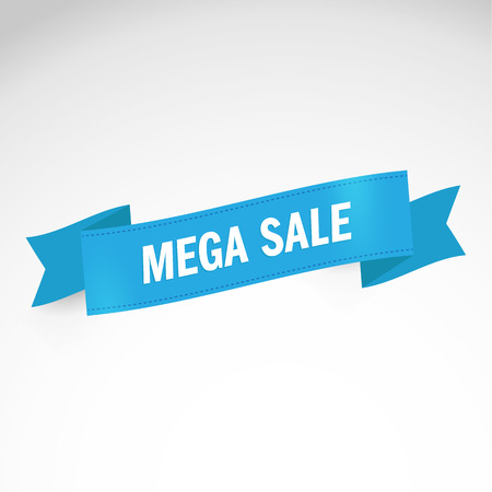Mega Sale Banner. Modern Ribbon. Vector illustration, Theme Colorful.Special offer sale tag discount