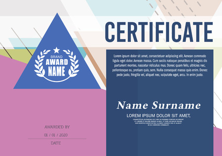 Certificate Frame Design Template, Geometric triangle pattern Ilustração