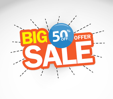 Big Sale and special offer. 50% off. Vector illustration.Theme color. Imagens - 69522956
