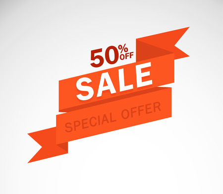 Sale and special offer. 50% off. Vector illustration.Theme color.