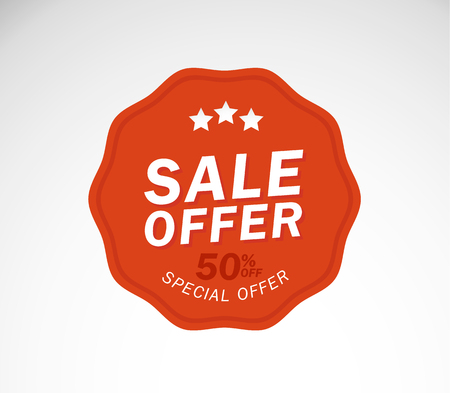 Sale special offer. 50% off. Vector illustration.Theme color.