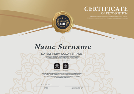 Certificate OF RECOGNITION frame design template layout template in A4 size Reklamní fotografie - 69051858