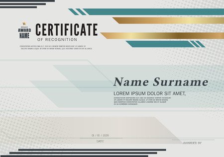 Certificate OF RECOGNITION frame design template layout template in A4 size Ilustração