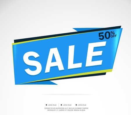Sale and special offer blue background. 50% off. Vector illustration.Theme color.