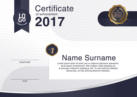 Certificate, Diploma of completion (design template, background) with guilloche pattern (watermark), border, frame. Useful for: Certificate of Achievement, Certificate of education, awards, winner Ilustração