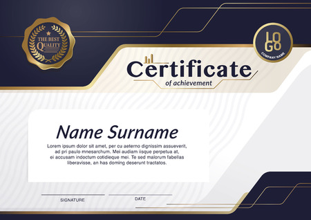 Certificate, Diploma of completion (design template, background) with guilloche pattern (watermark), border, frame. Useful for: Certificate of Achievement, Certificate of education, awards, winner Imagens - 74556808