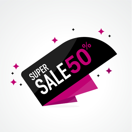 Icon Sale and special offer. 50% off. Vector illustration.Theme color. Reklamní fotografie - 74442984