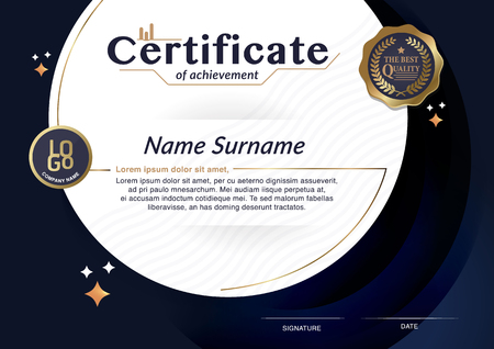 Certificate, Diploma of completion with guilloche pattern border, frame. Certificate of Achievement, Certificate of education, awards, winner Imagens - 76867691
