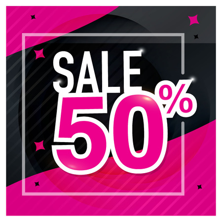 Icon Sale and special offer. 50% off. Vector illustration. Imagens - 76867748