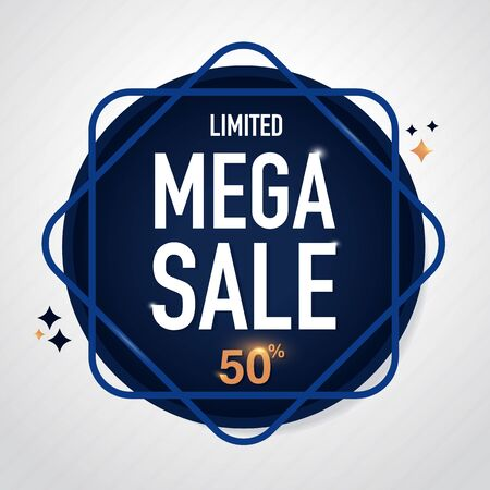 Mega Sale Icon Sale and special offer. 50% off. Vector illustration.