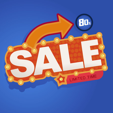 Icon Sale and special offer. special offer banner, up to 80% off. Vector illustration.