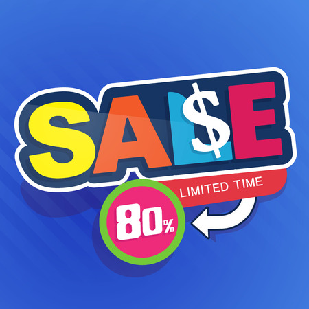 Icon Sale and special offer. special offer banner, up to 80% off. Vector illustration. Imagens - 84870593