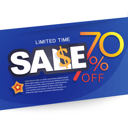 Icon Sale and special offer. special offer banner, up to 70% off. Vector illustration. Ilustrace