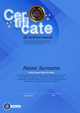 Certificate, Diploma, frame. Certificate of Achievement, Certificate of education, awards, winner A4 Reklamní fotografie - 84851592