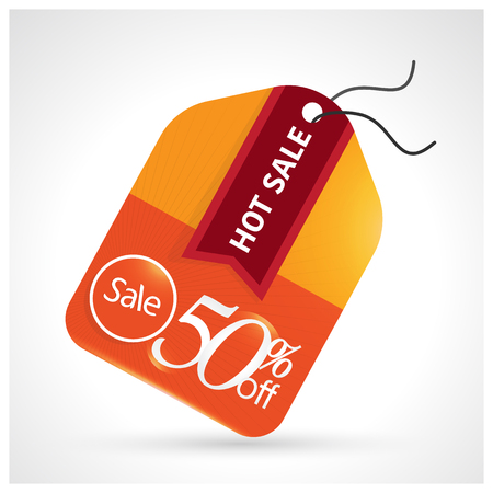 Sale tag with special offer 50% off. Hot Sale