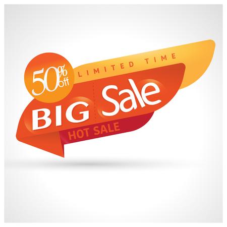 Big sale special up to 50% off. Sale banner template design, vector illustration. Illustration