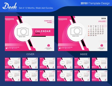 Calendar 2018 Year. Vector Design Template with Place for Photo. Week Starts on Sunday. Set of 12 Months