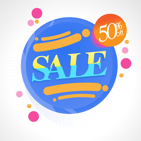 Super Sale Special Offer Banner Up To 50% Off. Vector illustration, Price Tag Colorful