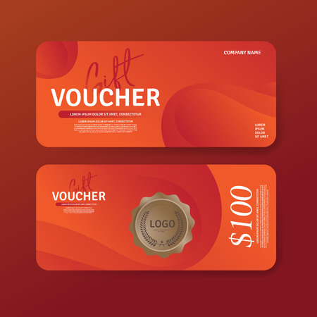 Gift Voucher Premier Color template. Discount voucher. Gift certificate. Set of two Cards Vector Ilustrace