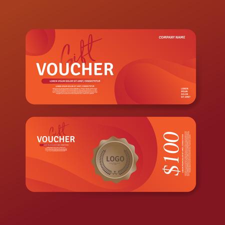 Gift Voucher Premier Color template. Discount voucher. Gift certificate. Set of two Cards Vector Reklamní fotografie - 125780401