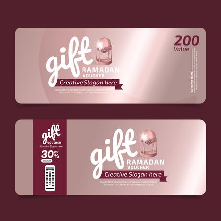 Gift Voucher RAMADAN KAREEM Voucher, Coupon template Golden, Design concept for gift coupon