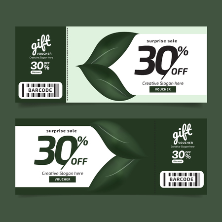 Gift Voucher Premier Nature Leaves Green Voucher, Coupon template Golden, Design concept for gift coupon Imagens - 125780430