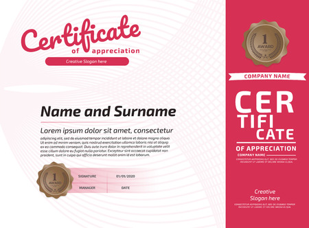 Certificate Of Appreciation Award Template. Illustration Certificate Horizontal In A4 Size Pattern Imagens - 125780439