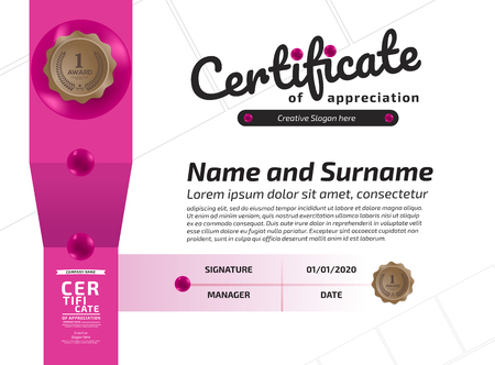Certificate Of Appreciation Award Template. Illustration Certificate Horizontal In A4 Size Pattern