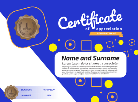 Certificate Of Appreciation Award Template. Illustration Certificate Horizontal In A4 Size Pattern Imagens - 125780494