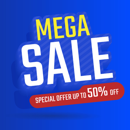 Sale banner template design, Maga sale special offer, Special offer Up to 50% off vector Illustration Imagens - 123529862