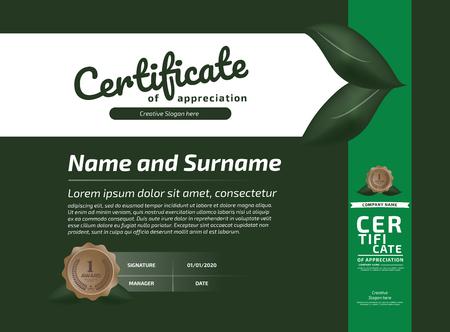 Certyfikat Uznania Szablonu Nagrody. Ilustracja Certyfikat poziomy we wzorze rozmiaru A4 Ilustracje wektorowe