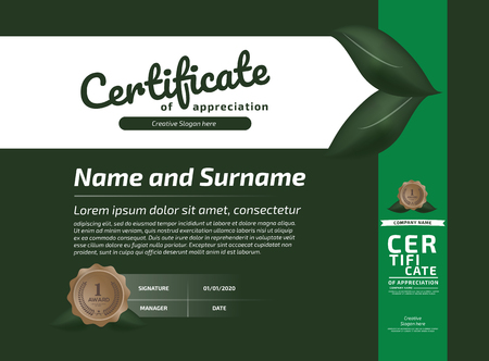 Modèle de récompense de certificat d'appréciation. Certificat d'illustration horizontale au format A4 Vecteurs