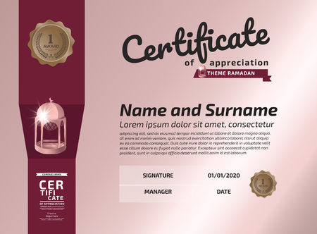 Certificate Ramadan Of Appreciation Award Template. Illustration Certificate Horizontal In A4 Size Pattern